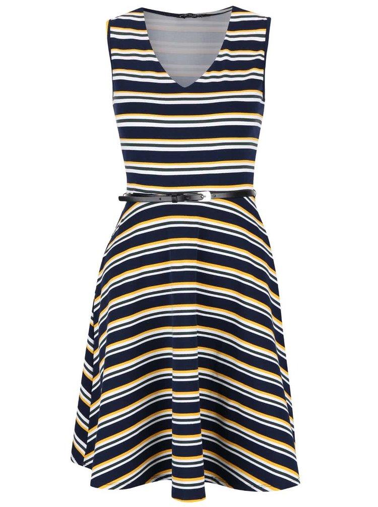 Tmavomodré šaty s farebnými pruhmi Dorothy Perkins