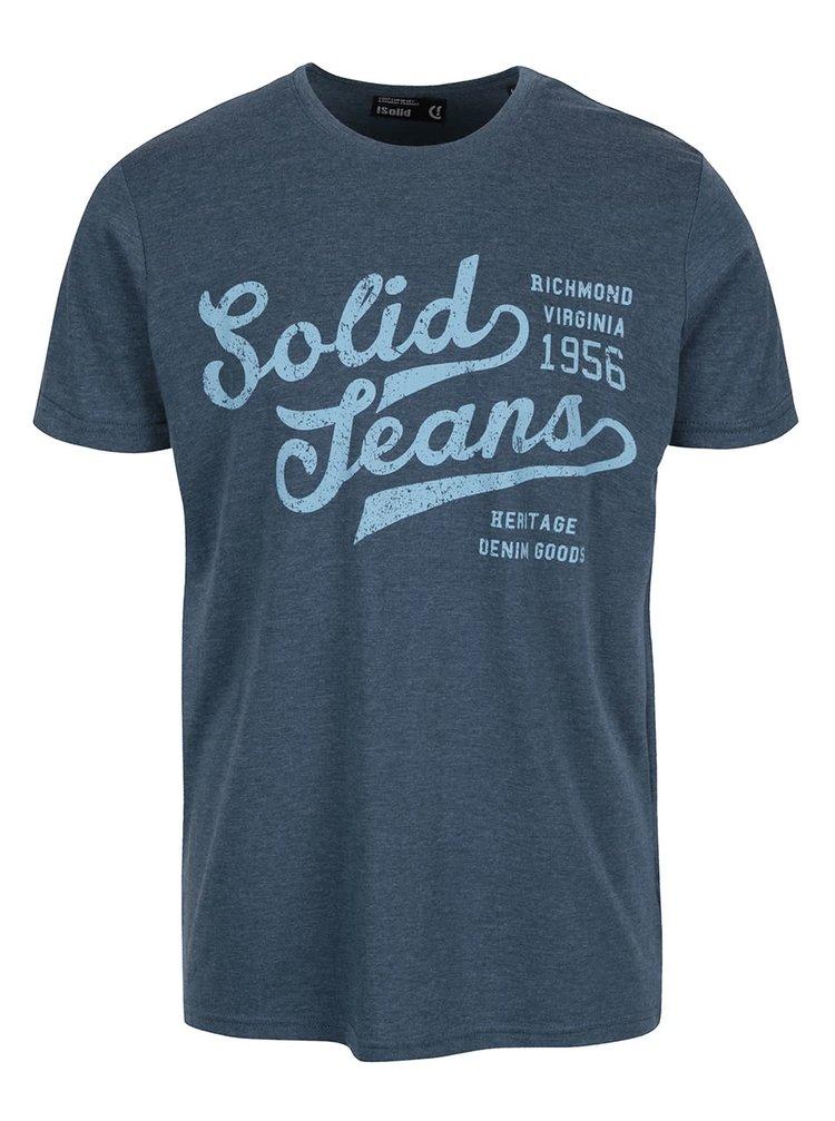 Modré melírované tričko s potlačou !Solid Deodat