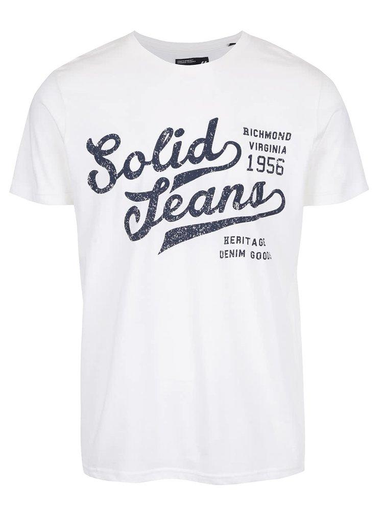Krémové triko s nápisem !Solid Deodat