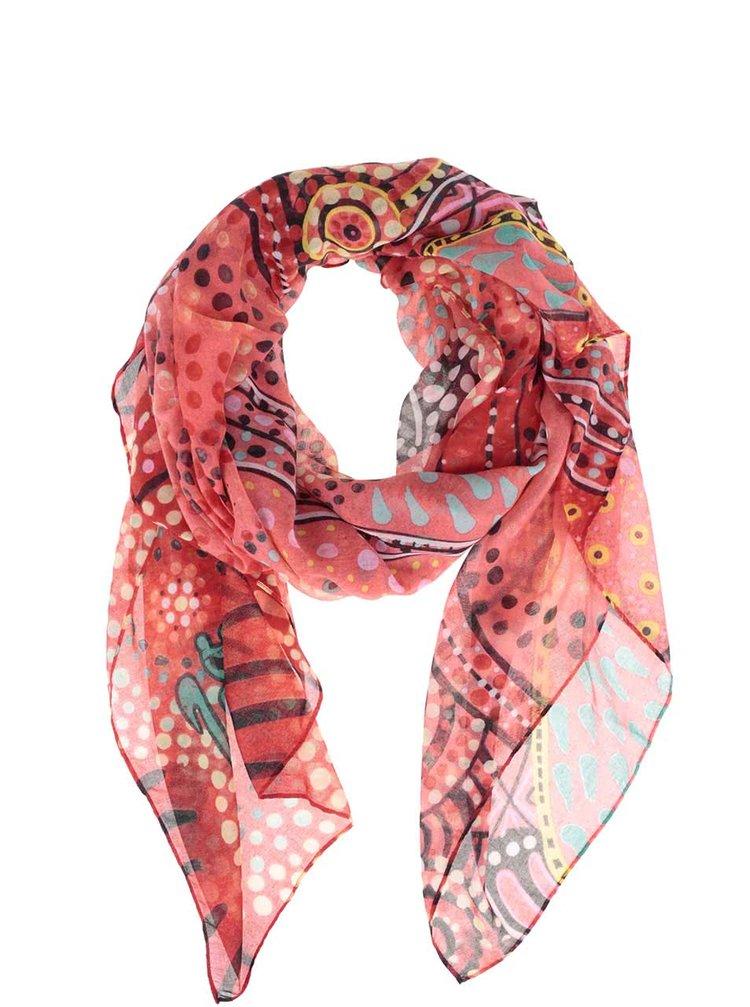 Červený vzorovaný šátek Desigual Lluka