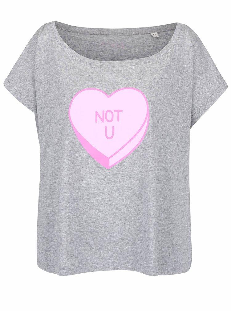 Šedé dámské oversize tričko ZOOT Originál Not You