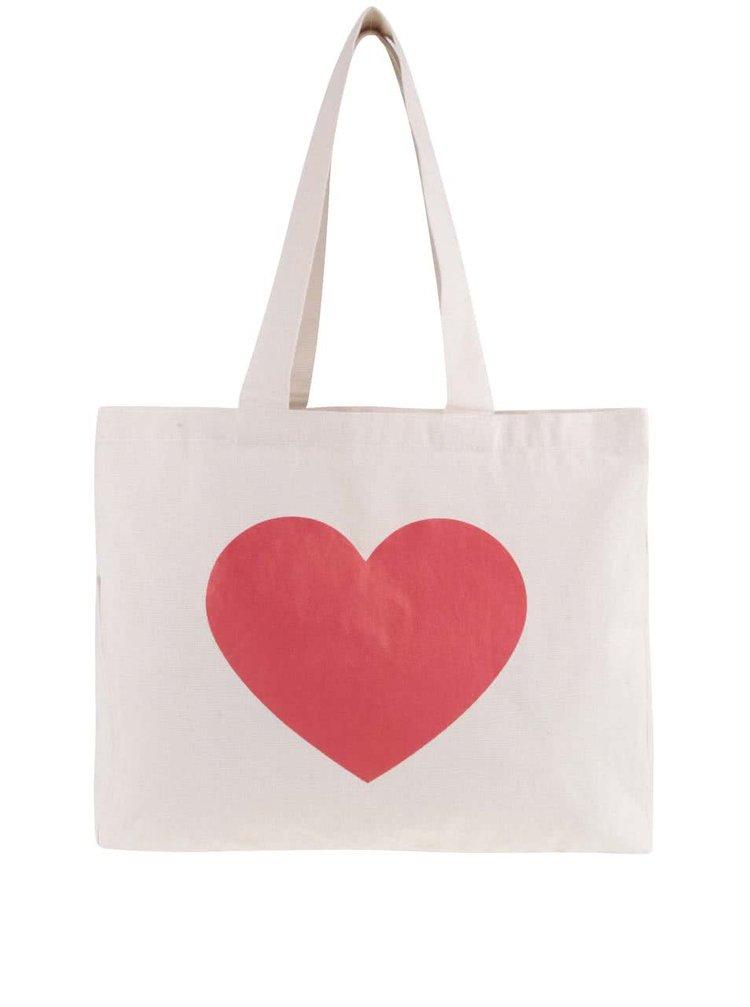 Krémová väčšia plátenná taška ZOOT Originál Srdce