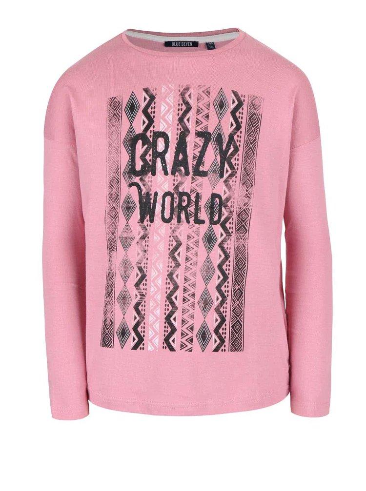 Bluză roz din bumbac Blue Seven de fete