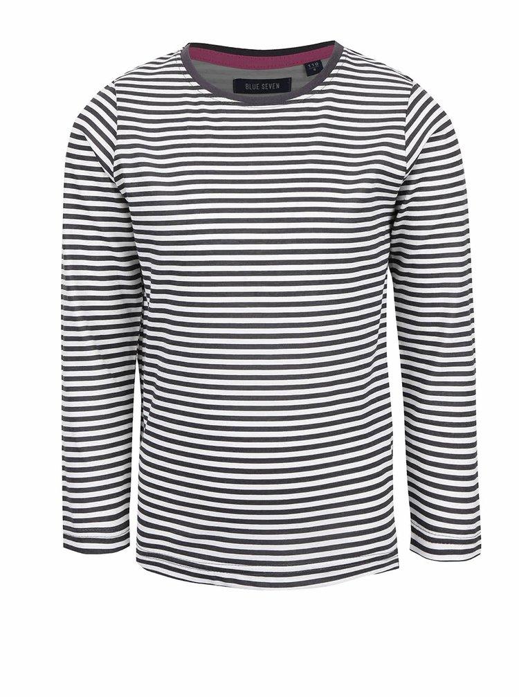 Krémovo-sivé dievčenské tričko s pruhmi Blue Seven