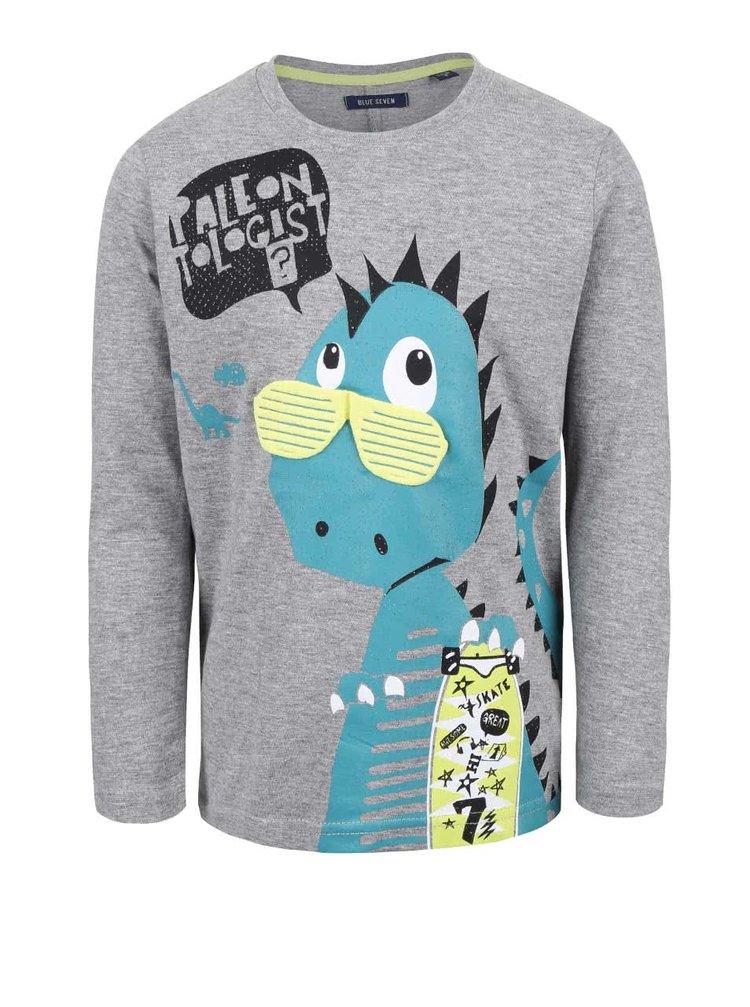 Šedé klučičí tričko s potiskem dinosaura Blue Seven