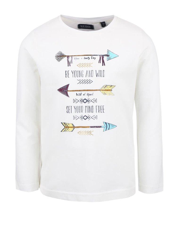Krémové dievčenské tričko s potlačou Blue Seven