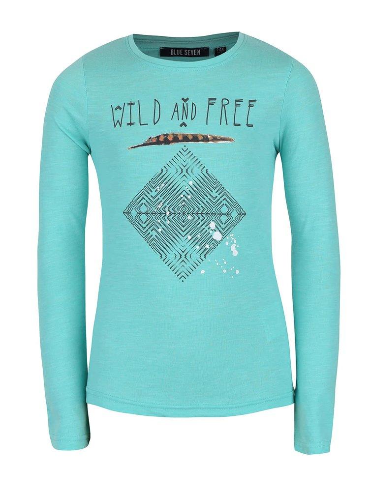 Mentolové holčičí tričko s dlouhým rukávem Blue Seven