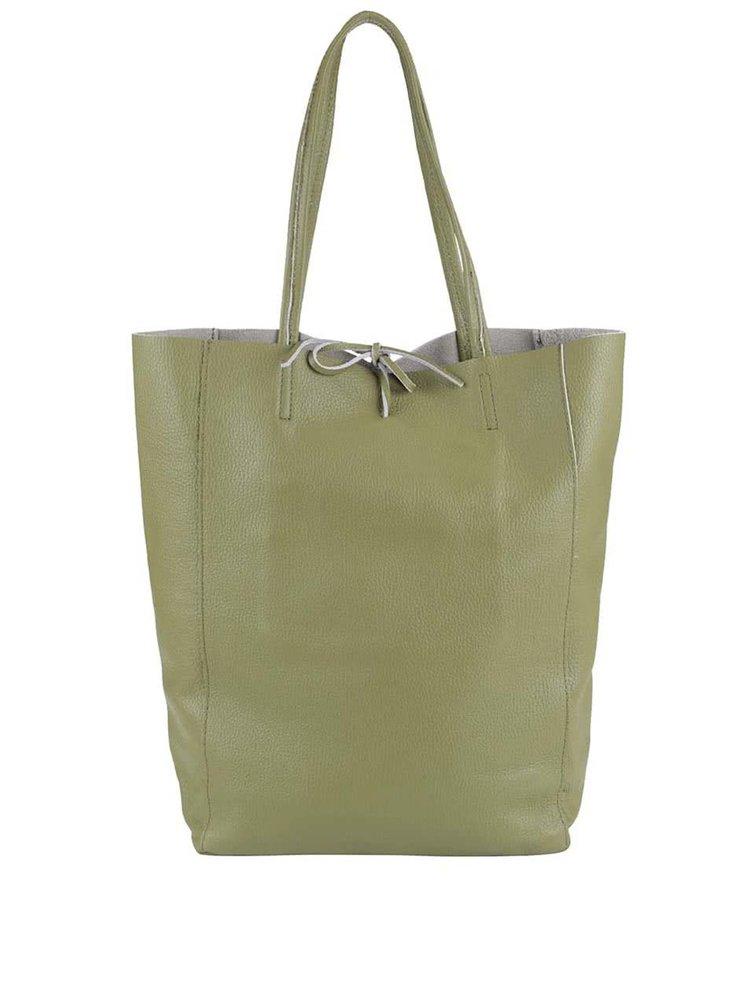 Zelený kožený shopper ZOOT Simple