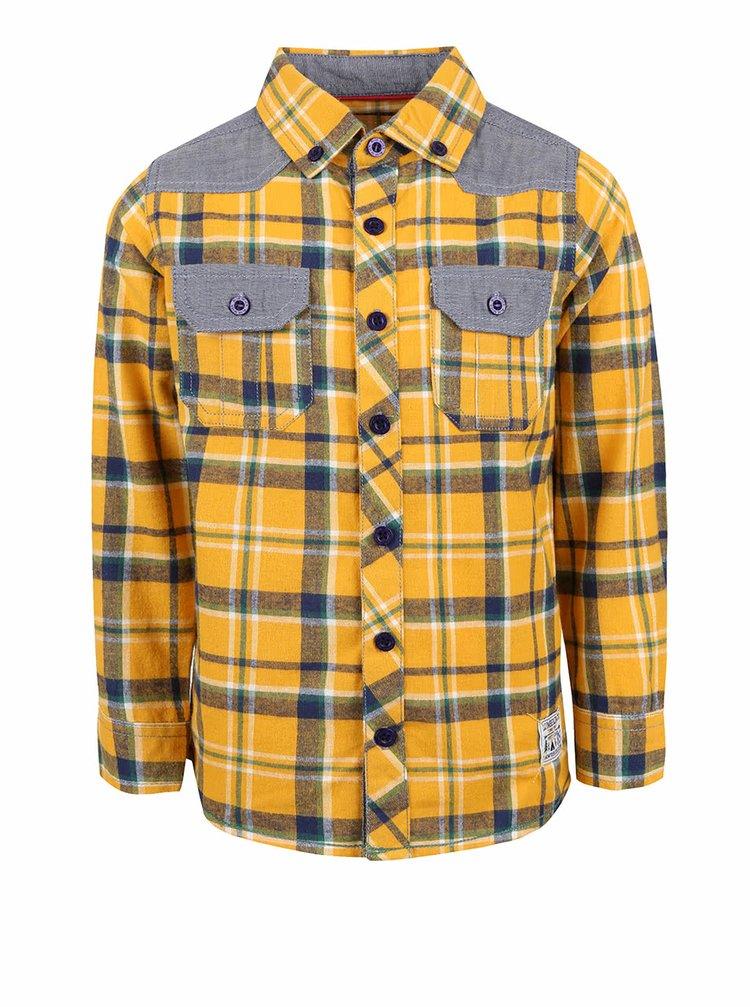 Sivo-žltá chlapčenská károvaná košeľa Blue Seven