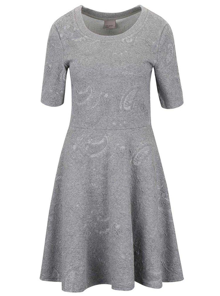 Světle šedé žíhané šaty se vzorem VERO MODA Marianne