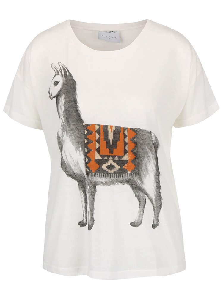 Krémové tričko s potiskem lamy VERO MODA Inka