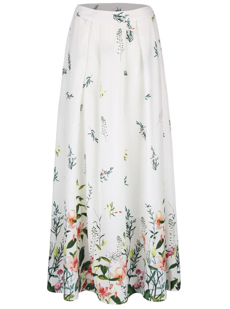 Krémová dlhá sukňa s kvetinovou potlačou VERO MODA Oni