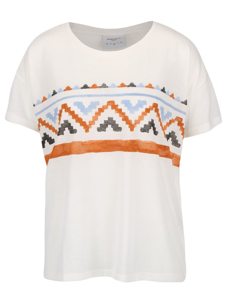 Krémové tričko so vzorom VERO MODA Inka