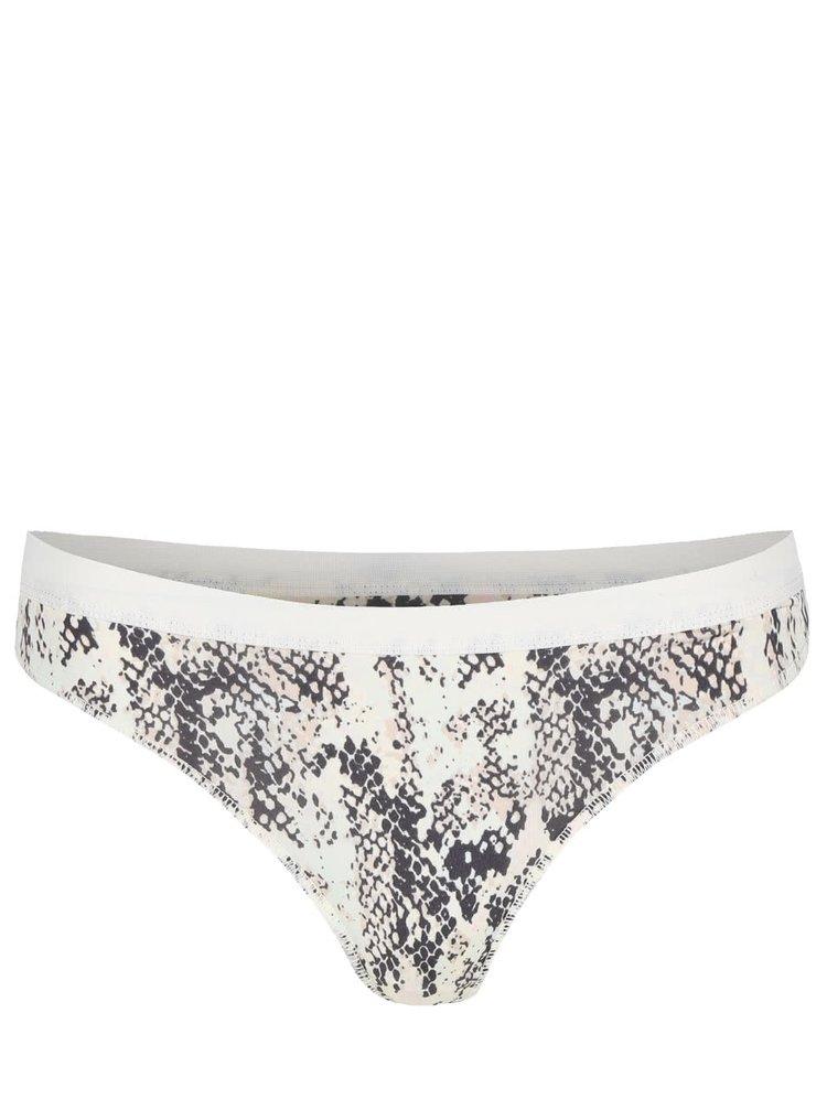 Krémové string kalhotky s hadím vzorem ICÔNE Elsa