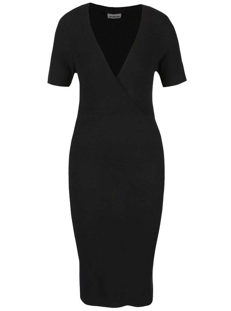 Černé žebrované šaty s krátkým rukávem Noisy May Looking
