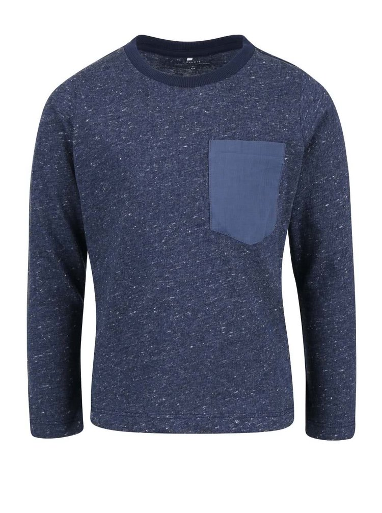 Tmavomodré melírované chlapčenské tričko s dlhým rukávom name it Seppe