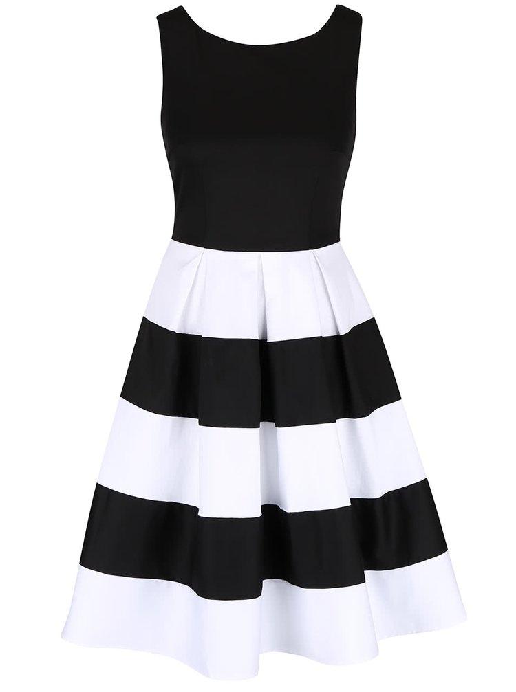 Černo-bílé šaty s pruhovanou sukní Dolly & Dotty Anna
