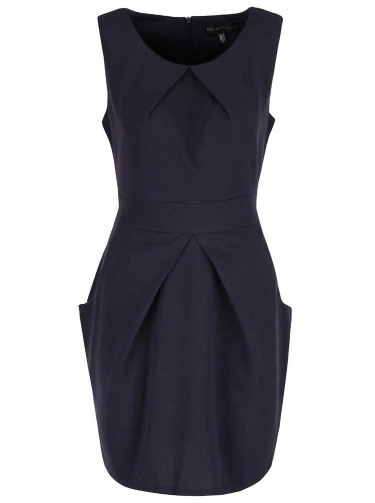 Tmavomodré šaty s vreckami so skladanou sukňou Mela London