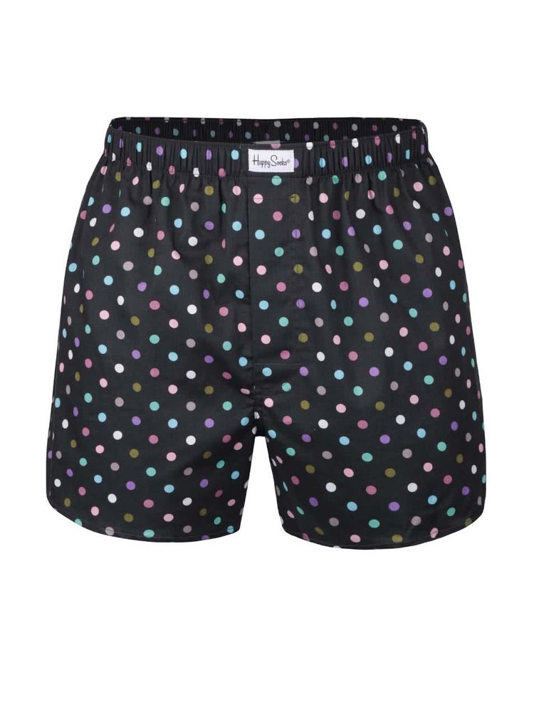 Boxeri negri cu buline Happy Socks Dot