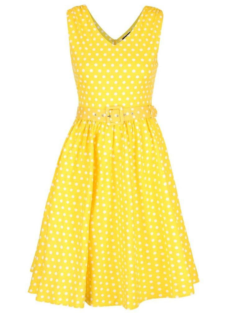 Žluté puntíkované šaty s páskem Dolly & Dotty Wendy