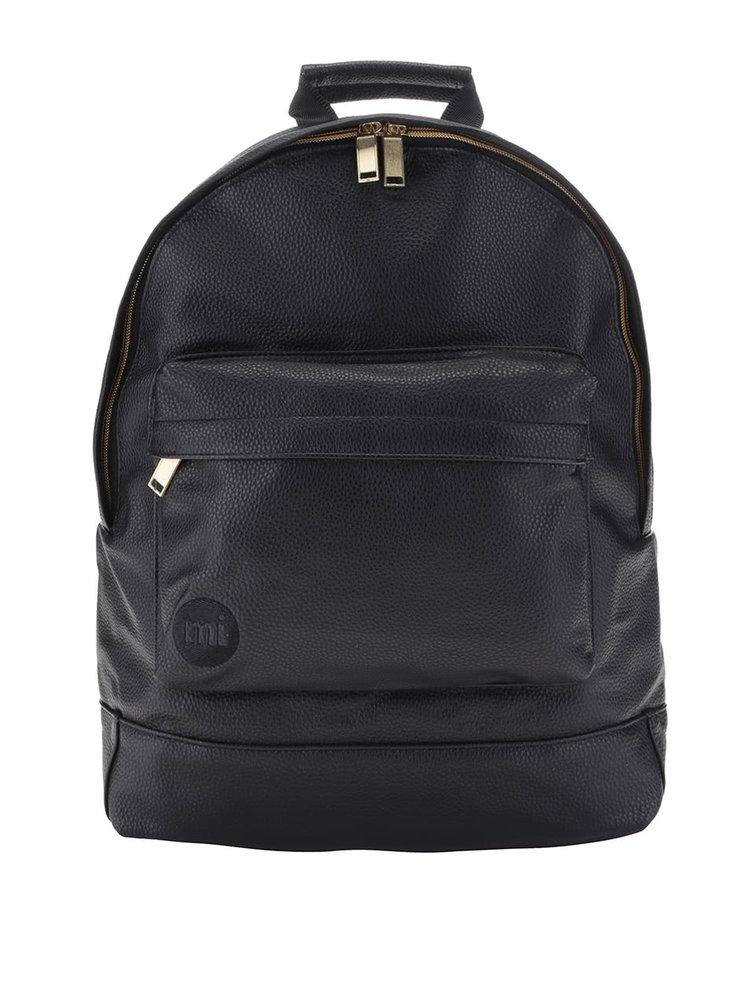 Čierny unisex koženkový batoh so zipsom v zlatej farbe Mi-Pac Tumbled