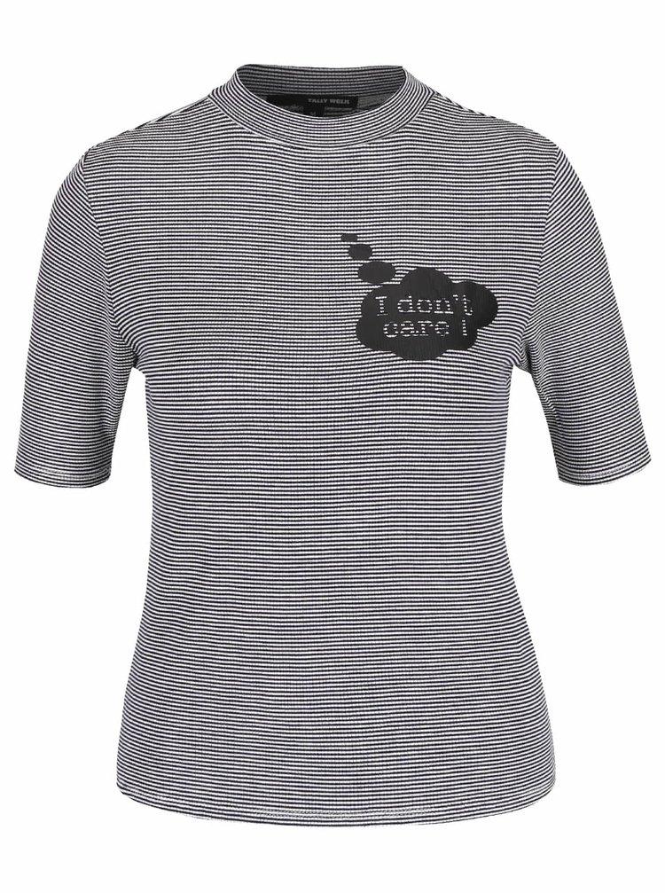 Krémovo-modré pruhované tričko s rolákem TALLY WEiJL