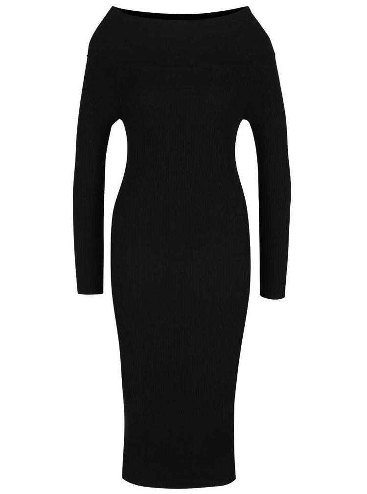 Černé svetrové šaty s odhalenými rameny Miss Selfridge