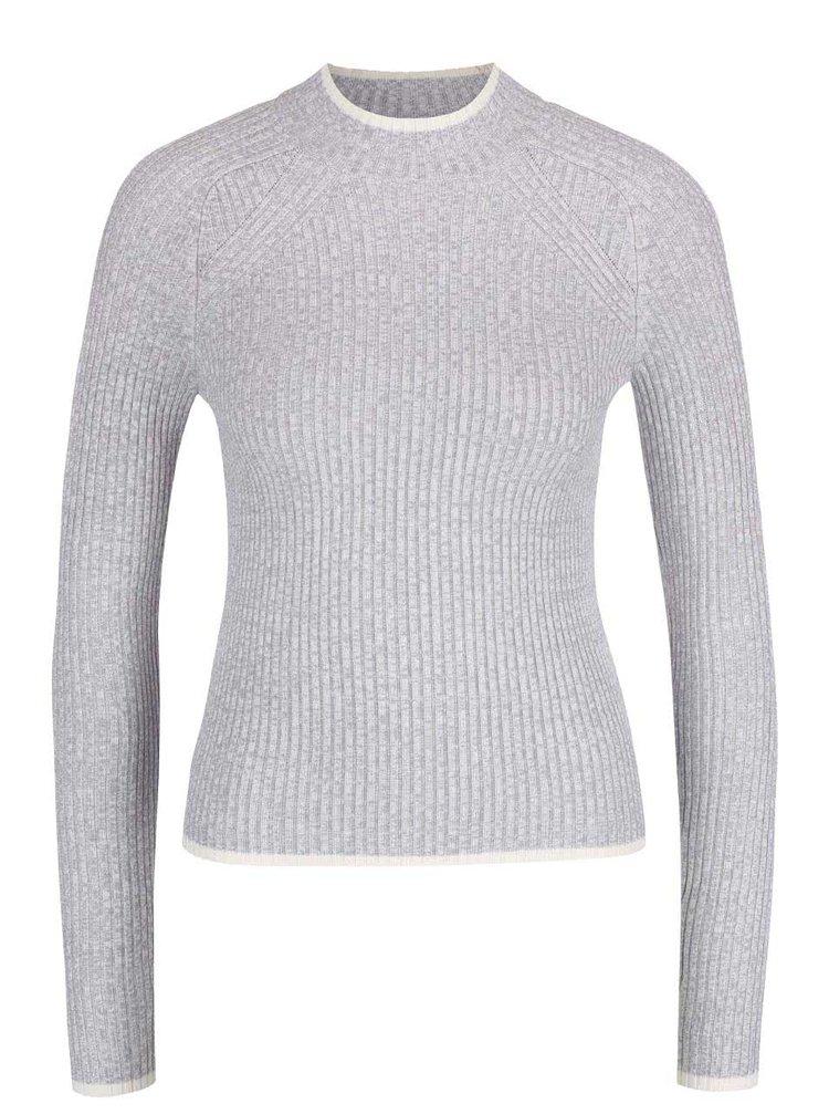 Sivý melírovaný sveter ku kurku Miss Selfridge