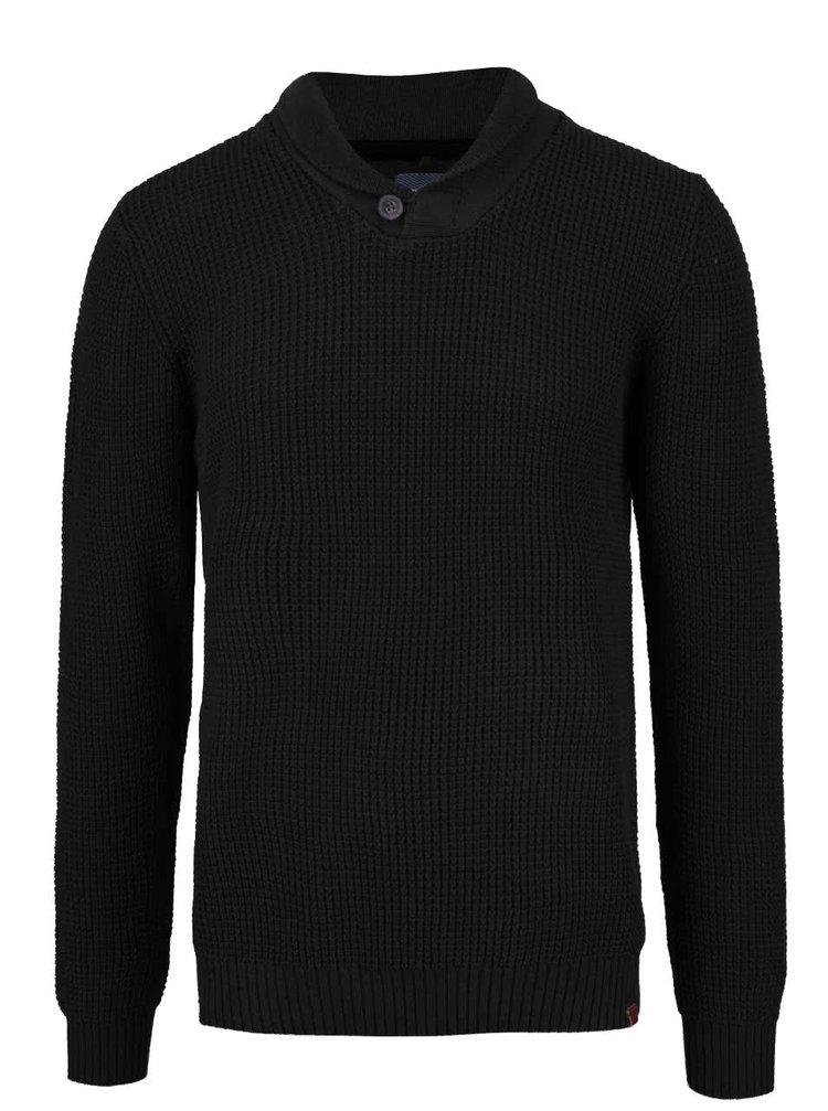 Čierny sveter s golierom a gombíkom Blend