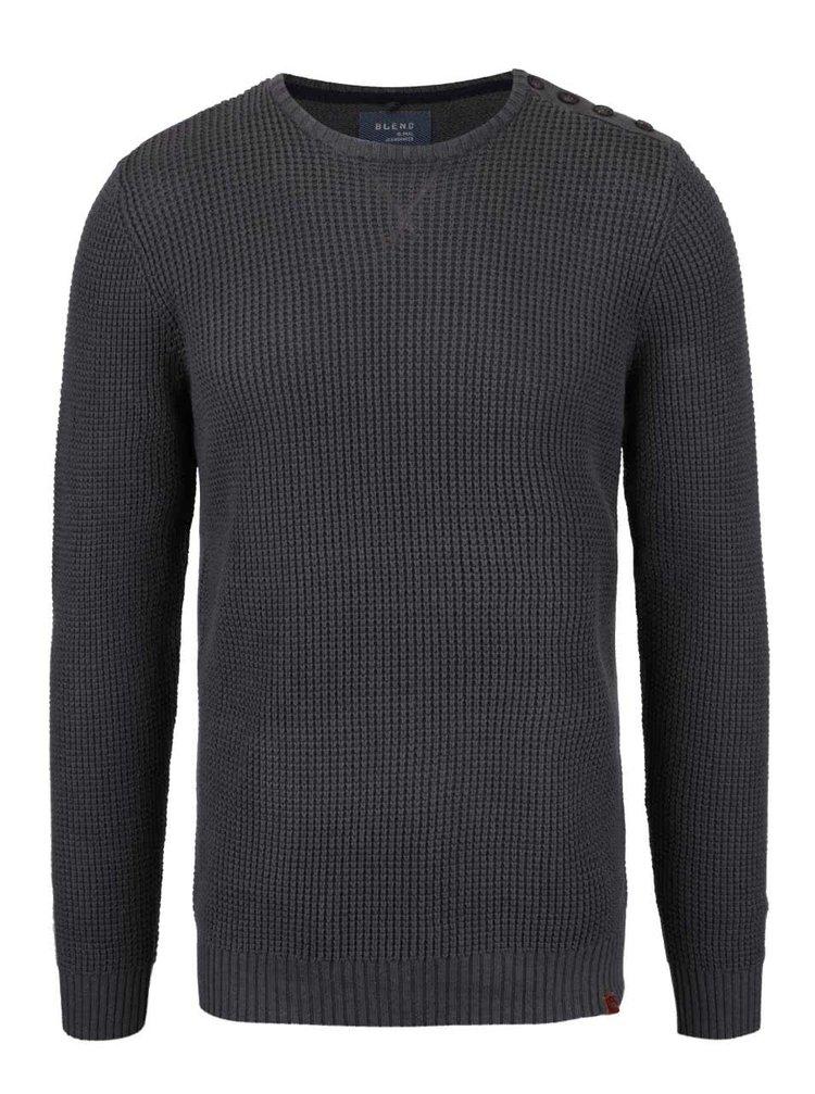 Pulover gri închis tricotat Blend din bumbac