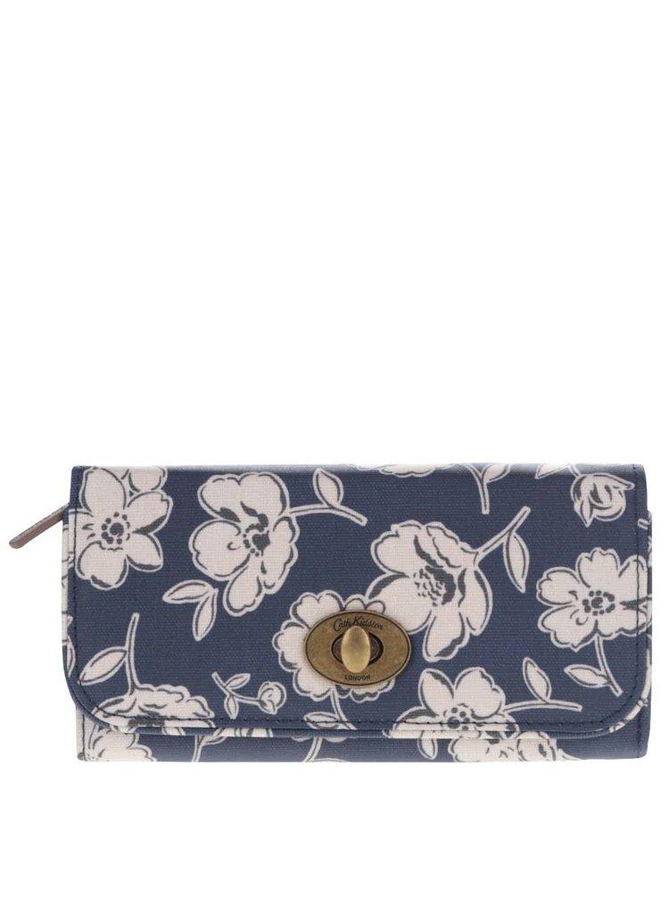 Tmavomodrá kvetovaná peňaženka so sponou Cath Kidston