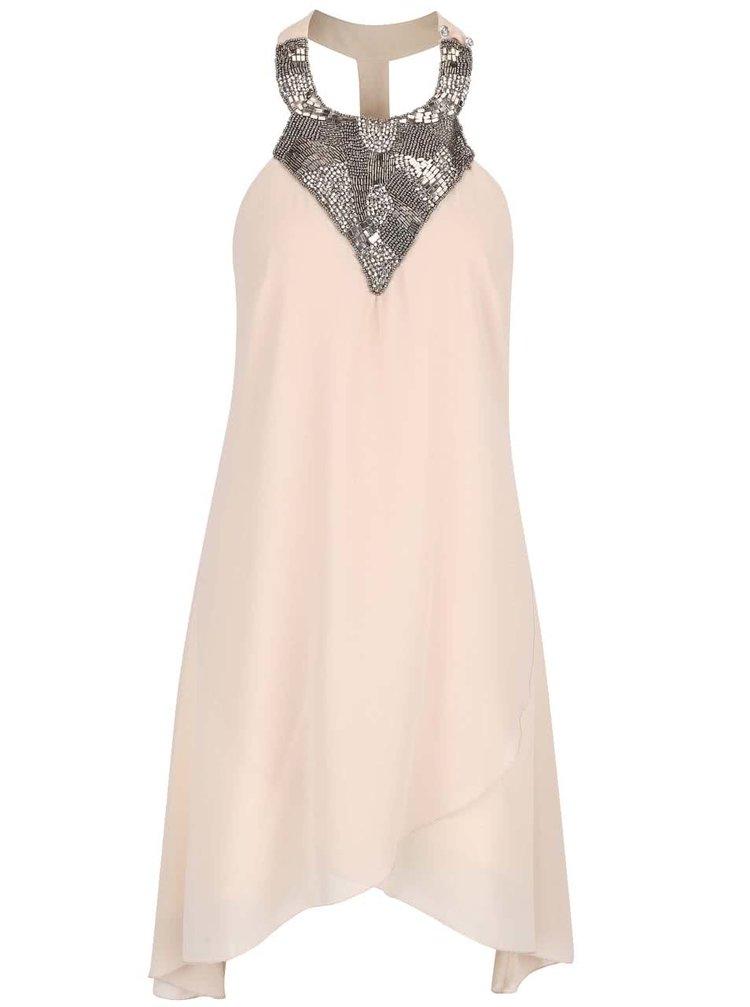 Béžové šaty s korálkovým dekoltem Little Mistress