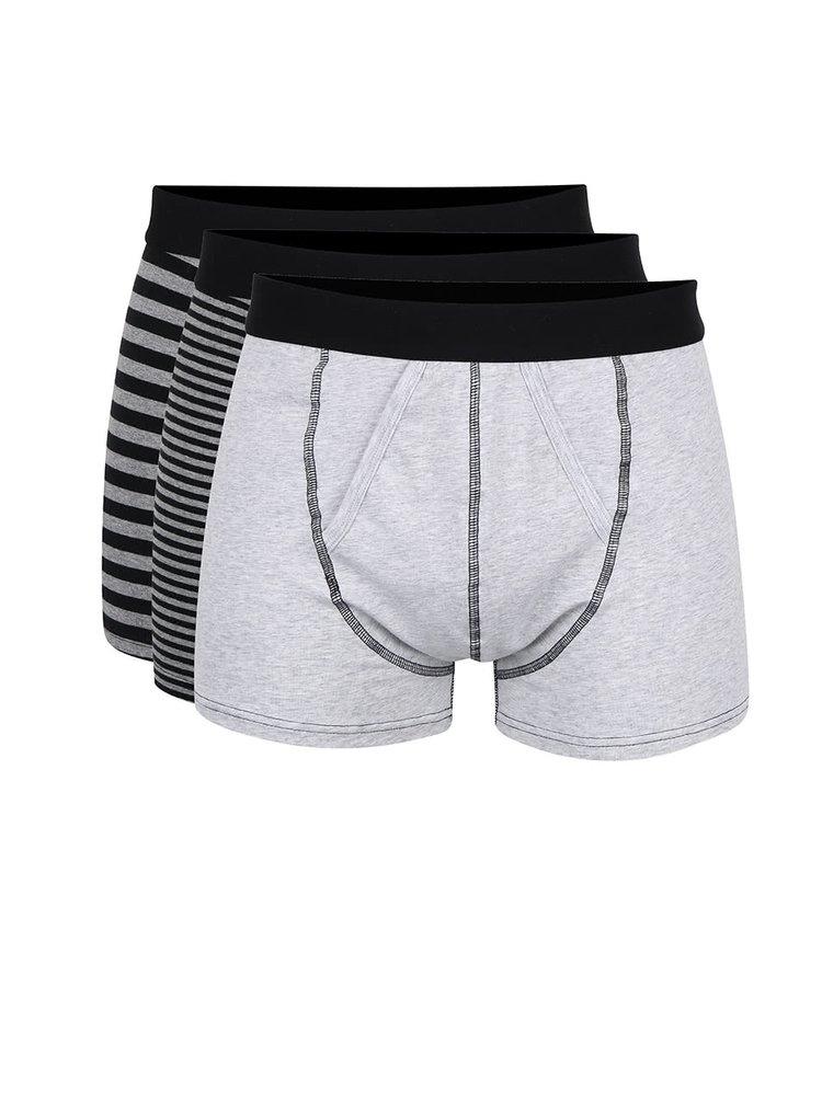 Sada tří šedých boxerek s černými pruhy Burton Menswear London