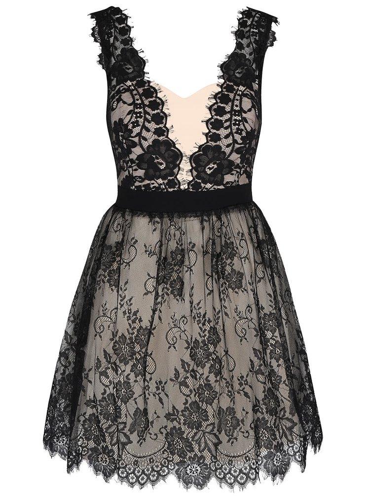 Čierno-krémové čipkované šaty Little Mistress