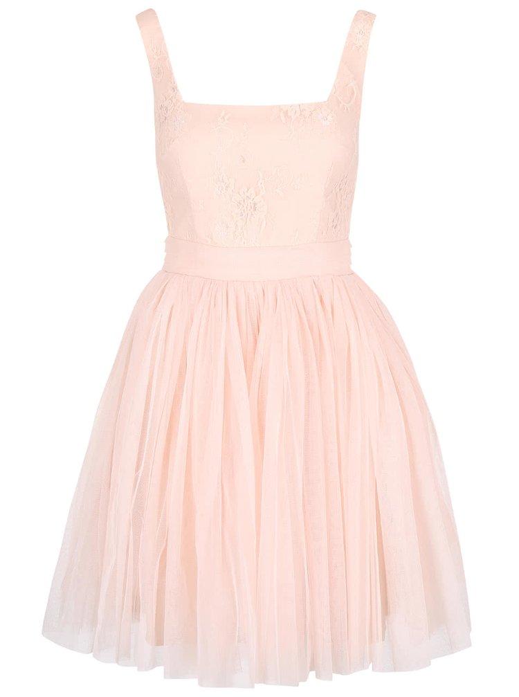 Světle růžové šaty s krajkovým topem Little Mistress