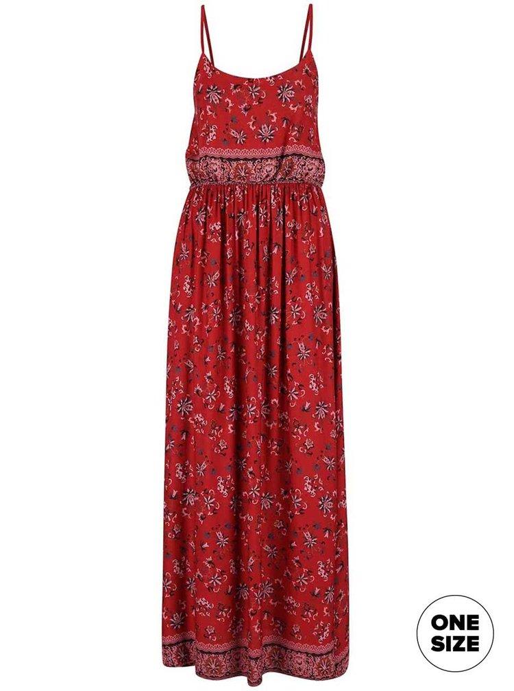 Červené kvetované maxi šaty so stiahnutím v páse ZOOT Now