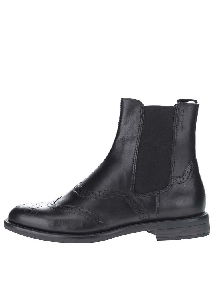 Čierne dámske kožené chelsea topánky s brogue detailmi Vagabond Amina