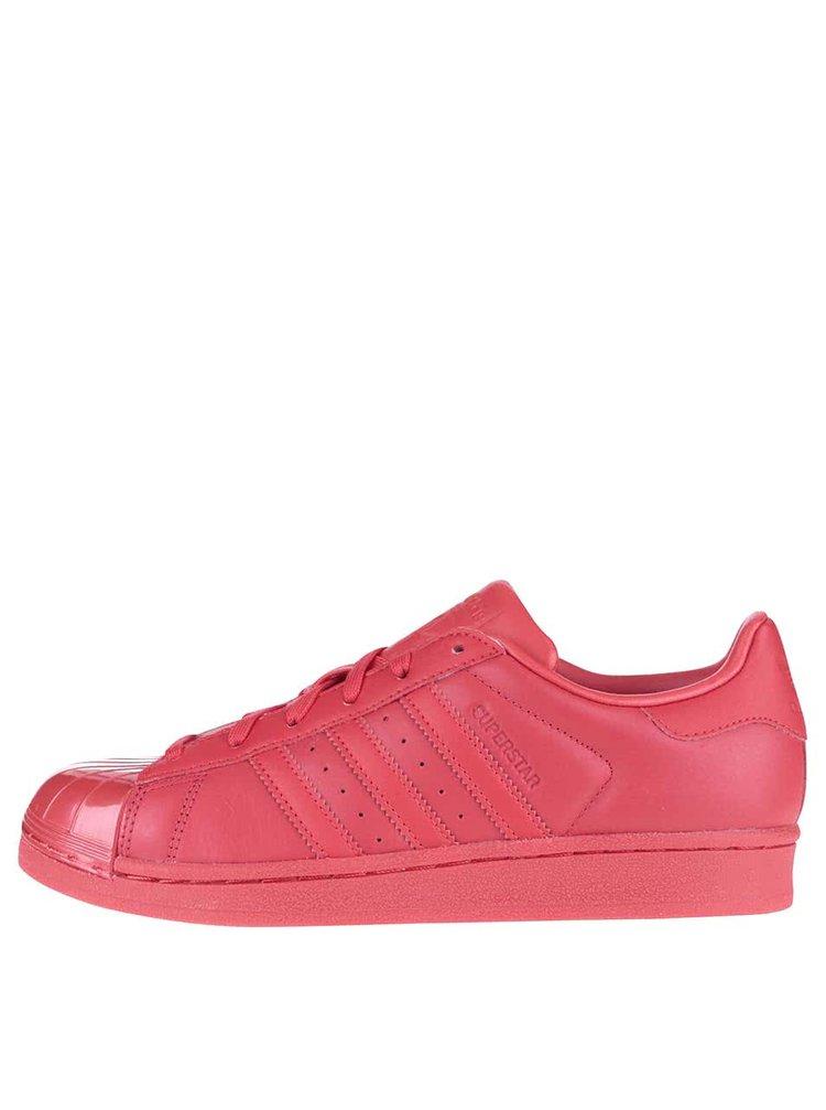 Červené dámske kožené tenisky adidas Originals Superstar Glossy