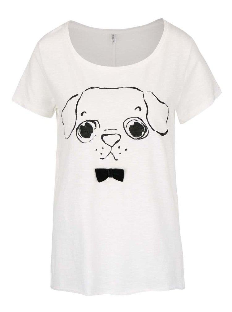 Krémové tričko s mašľou a motívom psa ONLY Kaya