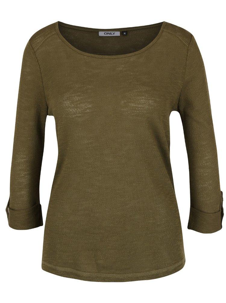 Olivově zelené triko s 3/4 rukávem ONLY Jess