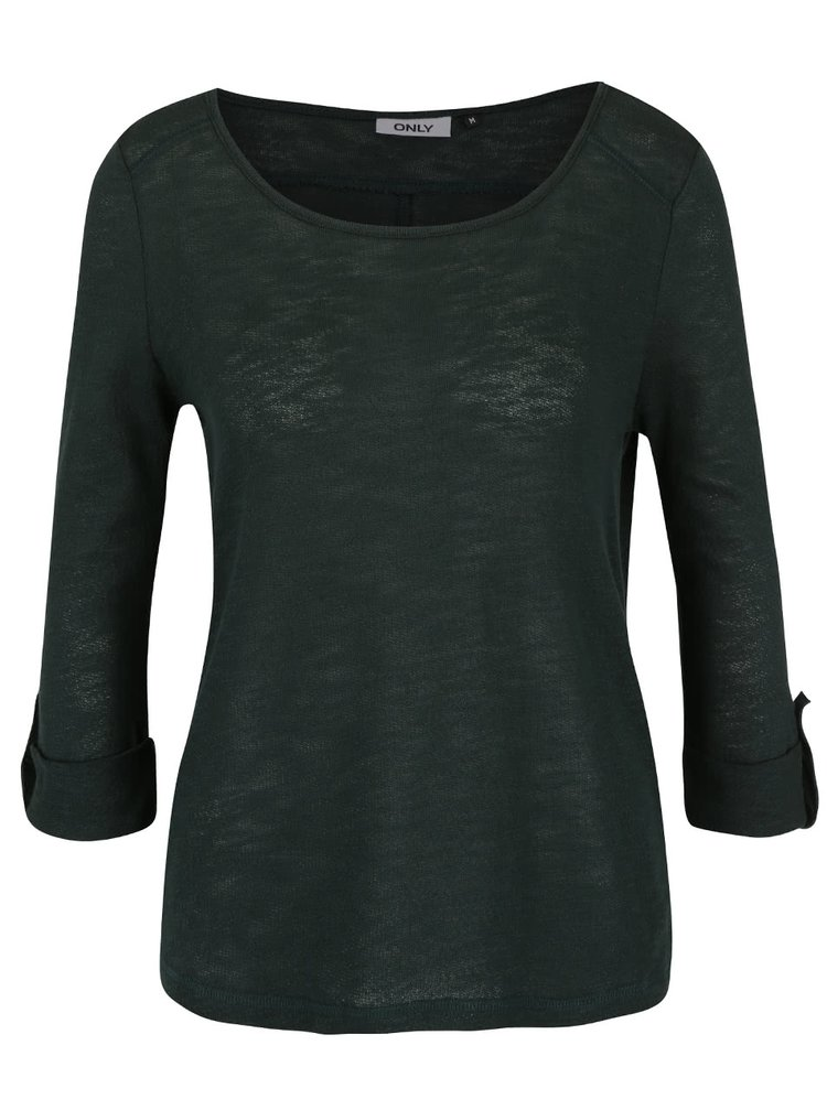 Bluza verde inchis din bumbac ONLY Jess