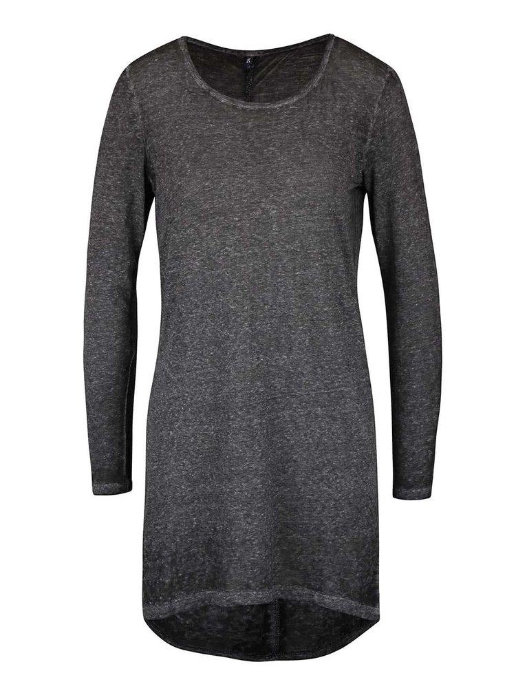 Tmavě šedé delší žíhané tričko s dlouhým rukávem ONLY Lucca