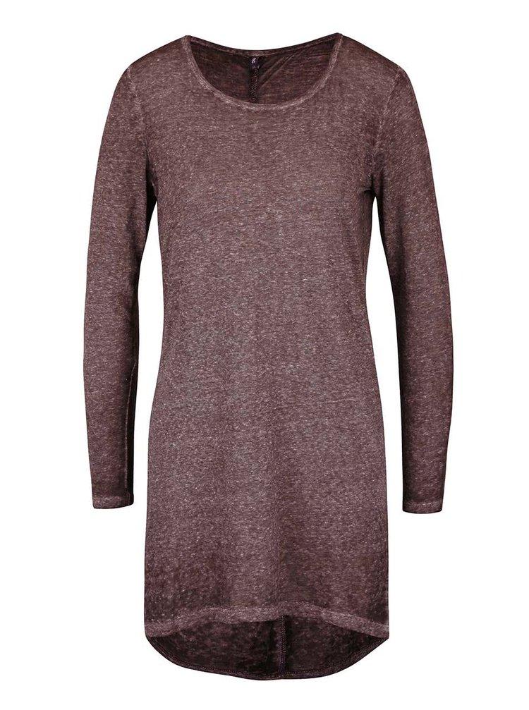 Fialové dlhšie melírované tričko s dlhým rukávom ONLY Lucca