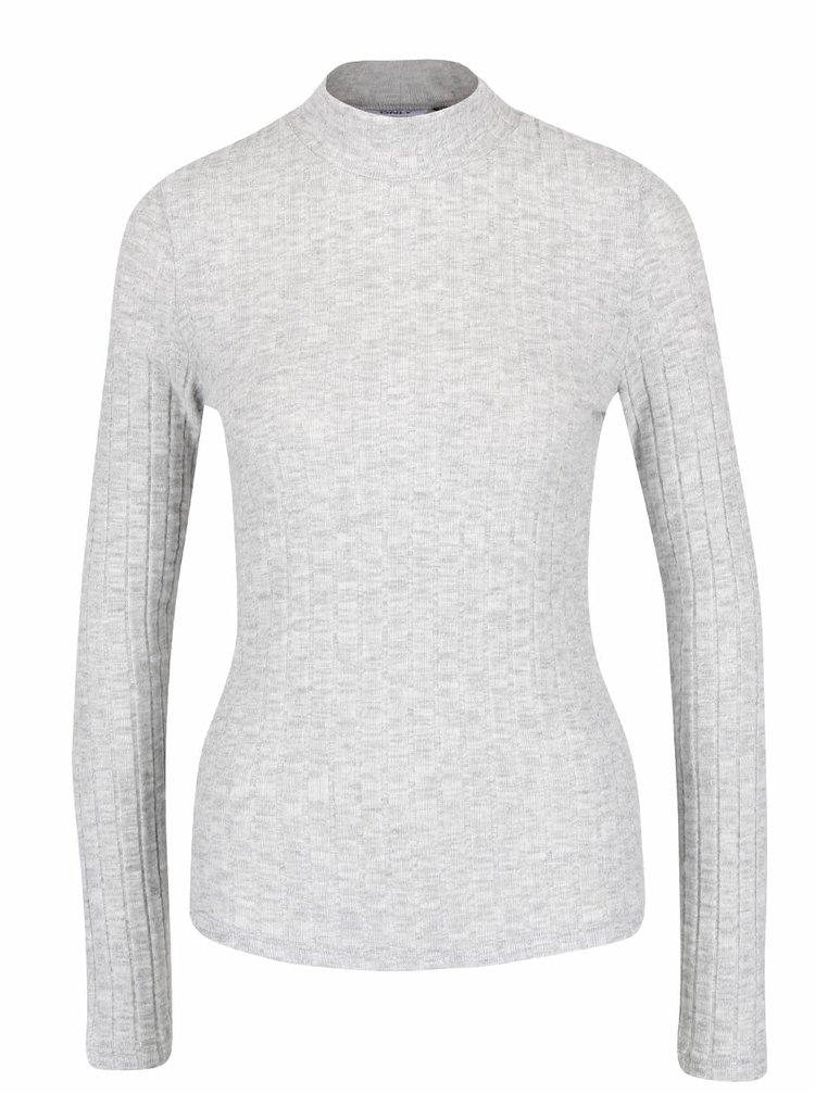 Světle šedé žíhané tričko s rolákem ONLY Great Ripena