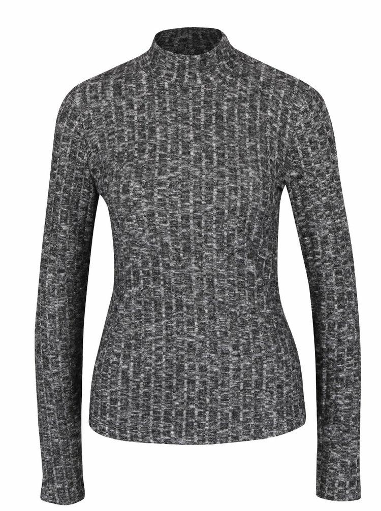 Tmavě šedé žíhané tričko s rolákem ONLY Great Ripena