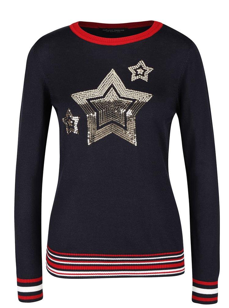Tmavomodrý sveter s flitrovými hviezdami Dorothy Perkins
