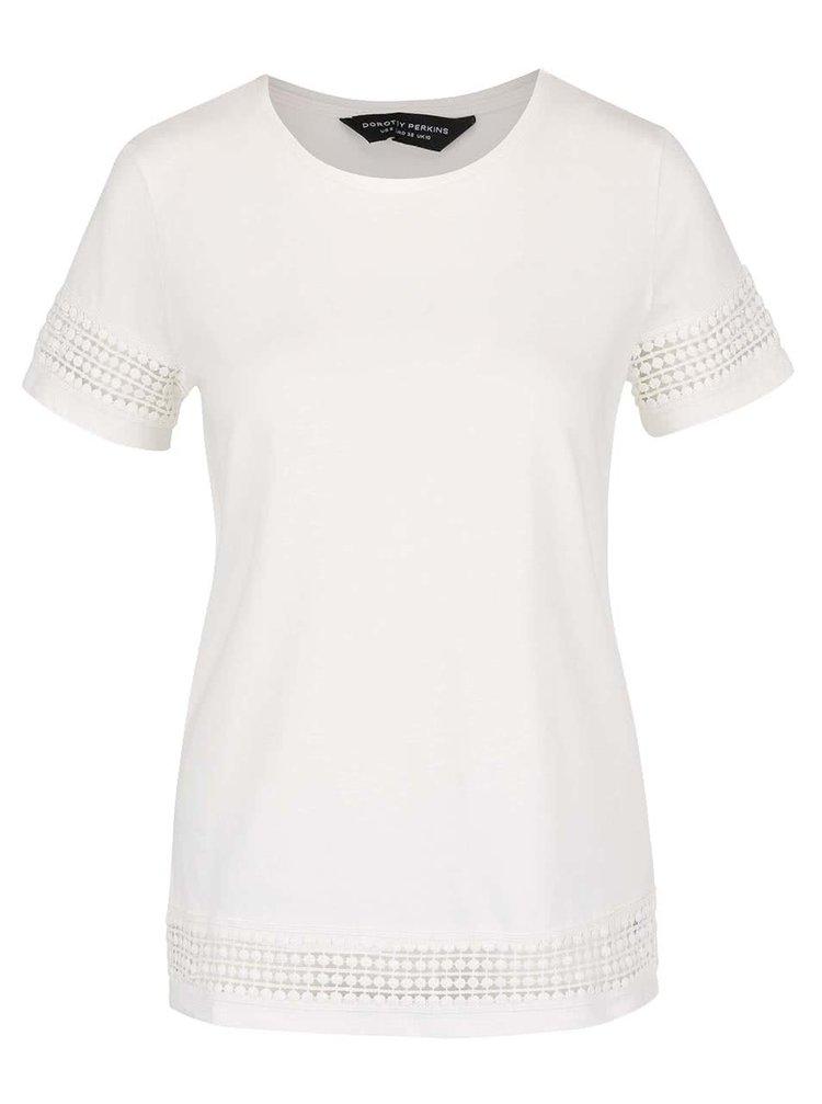 Krémové tričko s čipkovanými detailmi Dorothy Perkins