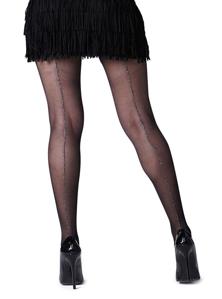 Černé punčochové kalhoty se proužkem ve stříbrné barvě Gipsy