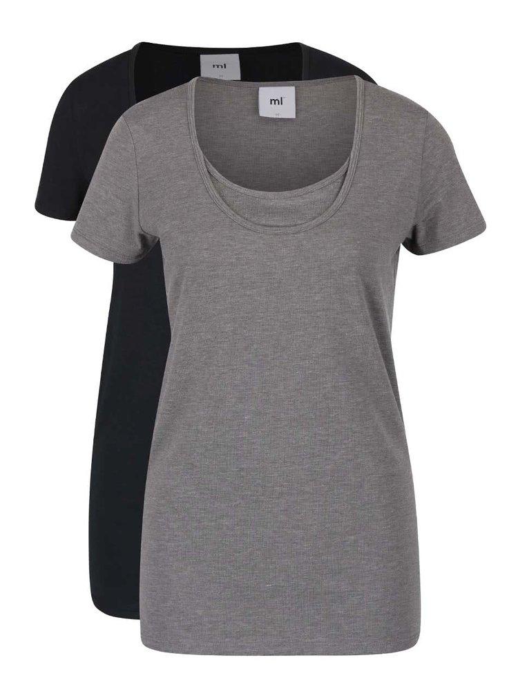 Súprava dvoch dojčiacich tričiek v čiernej a sivej farbe Mama.licious Lea