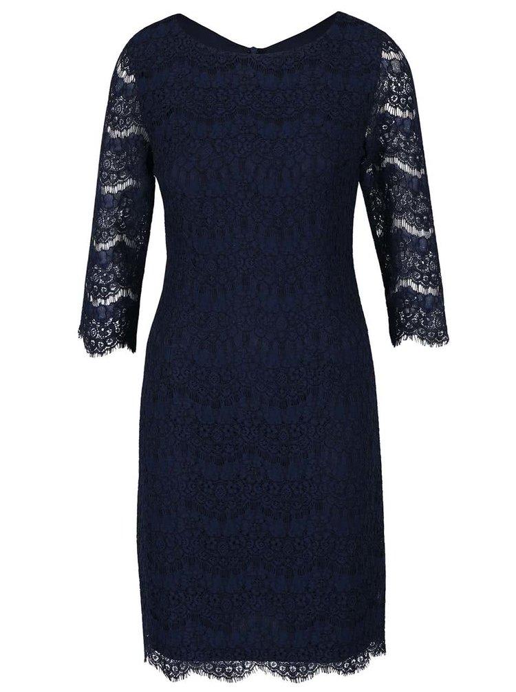 Tmavě modré krajkové šaty s 3/4 rukávy Apricot